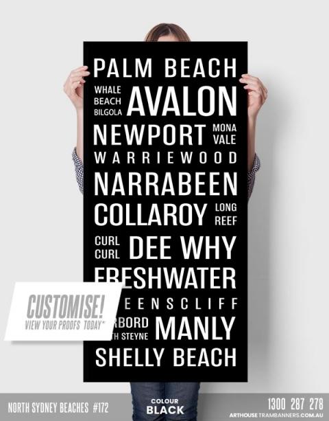 172 north sydney beaches word art custom-tram-banner-scroll-bus-roll-product-image
