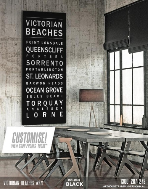 #271 victorian beachess word art custom-tram-banner-bus-scroll-shown-in-eclectic-dining-room