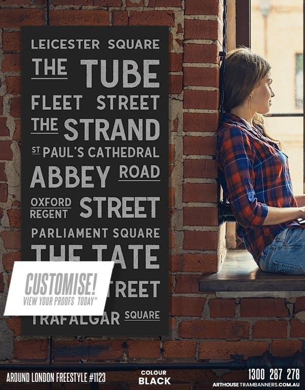 around london freestyle #1123 custom-tram-banner-scroll-bus-roll-shown-on-brick-wall