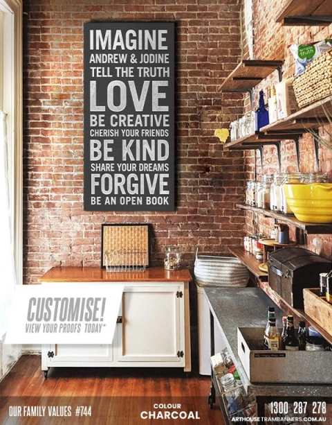 our family values #744 custom-tram-banner-bus-scroll-shown-in-rustic-brick-kitchen