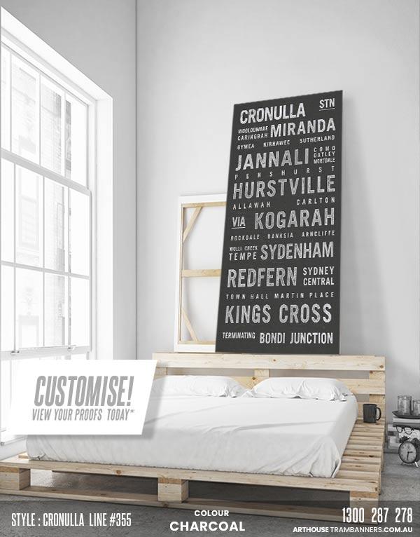 product images - cronulla line #355 custom-tram-banner-bus-scroll-shownin-bedroom
